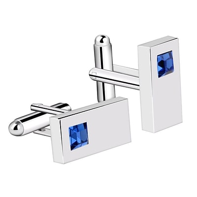 Zodaca Vintage Mens Silver Rectangle with Blue Diamond Wedding Party Birthday Gift Novelty Shirt Cufflinks (2177470)