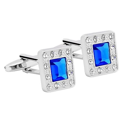 Zodaca Vintage Mens Silver Square Jewels with Blue Diamond Wedding Party Gift Novelty Shirt Cufflinks (2177473)