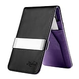 Zodaca Mens Faux Genuine Leather Silver Money Clip Wallets ID Credit Card Holder - Black/Purple (188