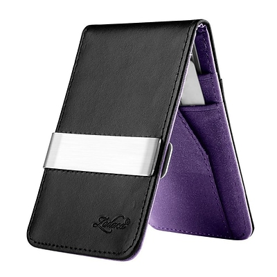 Zodaca Mens Faux Genuine Leather Silver Money Clip Wallets ID Credit Card Holder - Black/Purple (1885903)