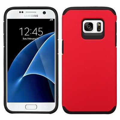 Insten Hard Hybrid Rubber Coated Silicone Cover Case For Samsung Galaxy S7 - Red/Black (2195615)
