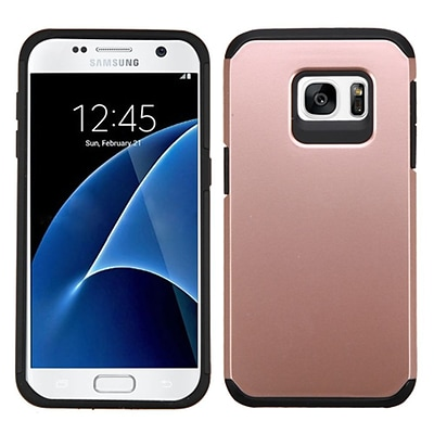 Insten Hard Dual Layer Silicone Case For Samsung Galaxy S7 - Rose Gold/Black (2195617)