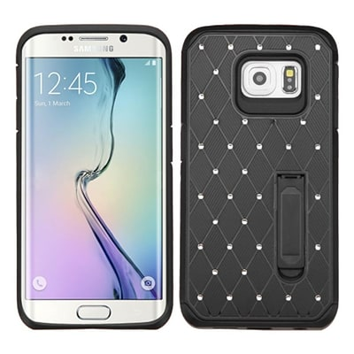 Insten Hard Dual Layer Rubber Coated Silicone Cover Case w/stand/Diamond For Samsung Galaxy S6 Edge - Black (2119131)