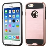 Insten Brushed Hybrid Shockproof Dual Layer Hard PC/Silicone Case For iPhone 6s 6 - Rose Gold/Black