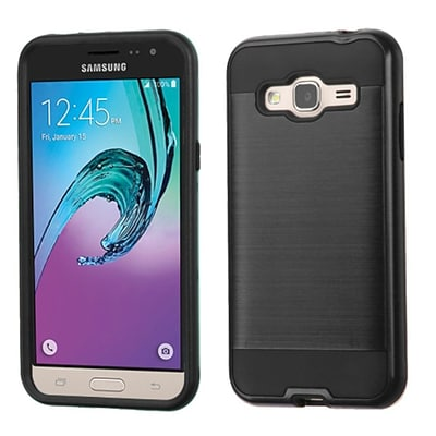 Insten Hard Hybrid Rubber Coated Silicone Cover Case For Samsung Galaxy J3 - Black (2195513)