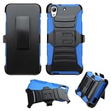 Insten Hard Dual Layer Plastic Silicone Case w/Holster For HTC Desire 626/626s - Black/Blue (2133950