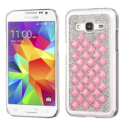 Insten Hard Diamond Cover Case For Samsung Galaxy Core Prime - Silver/Pink (2118969)