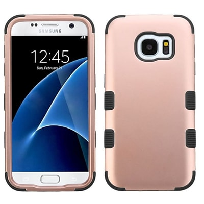 Insten Tuff Hard Hybrid Silicone Cover Case For Samsung Galaxy S7 - Rose Gold/Black (2208110)