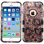 Insten Tuff Four-leaf Clover Hard Hybrid Rubberized Silicone Cover Case For Apple iPhone 6/6s - Blac