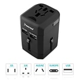 Insten Worldwide Travel Power Adapter with Built-in Dual Port USB Charger 2.5A International (US UK