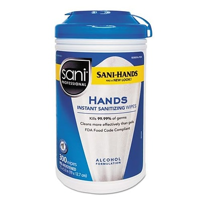 PDI® Sani-Professional Sani-Hands II Sanitizing Wipes, 7 1/2 x 5 1/2, 300/Pk, 6/CT