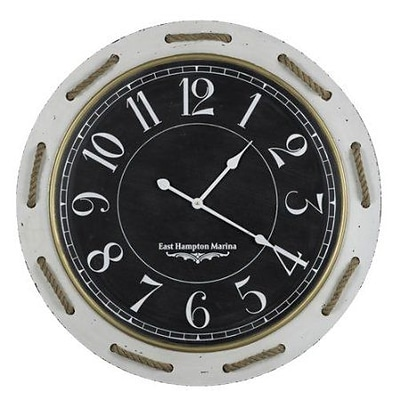 Cooper Classics  Hatteras Engineered Wood Wall Clock With Under Glass Face And Rope Accents (COOP888)