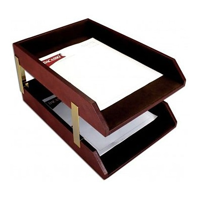 Dacasso  Leather Double Legal Trays - Mocha (DCSS414)