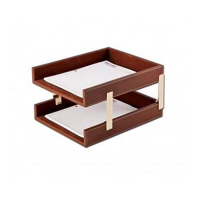 Dacasso  Leather Double Letter Trays - Brown (DCSS417)