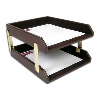 Dacasso  Crocodile Embossed Leather Double Letter Trays - Choclate Brown (DCSS423)