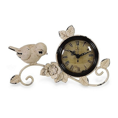 Home Decor Improvements  Wrought Iron Classical Bird Tabletop Clock (IMAX1196)
