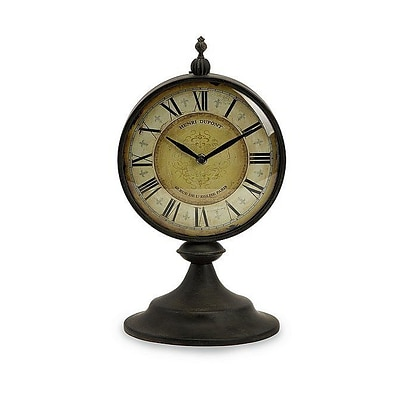 Home Decor Improvements  Antique Round Metal Christopher Tabletop Clock (IMAX1206)