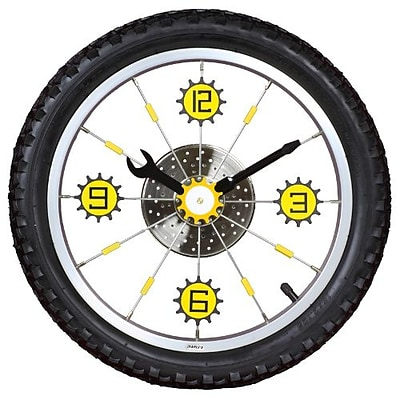 Maples  Bike Wall Clock - With Black Tire Rim and Rubber Tire (MPLS026)