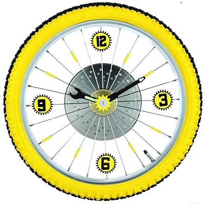 Maples  Bike Wall Clock - With Yellow Tire Rim and Rubber Tire (MPLS029)