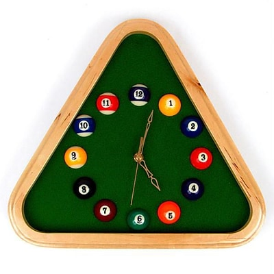 Pool Rack Quartz Clock With Solid Wood Frame (TC40-32400)