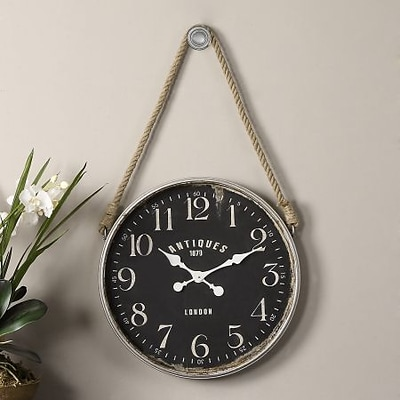 Uttermost  Bartram Aged Ivory And Matte Black Wall Clock (UTTERMST03654)