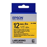 Epson® LabelWorks 1/2 Thermal Transfer Data Cartridge Label; Black On Yellow (LK-4YBW)