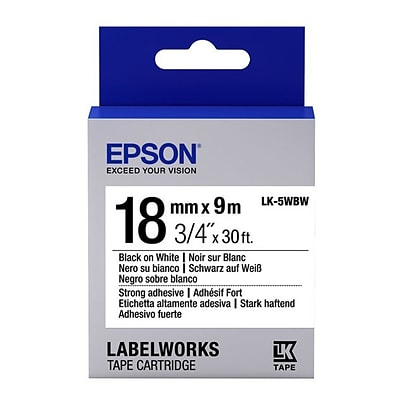 Epson® LabelWorks 3/4 Thermal Transfer Data Cartridge Label; Black On White (LK-5WBW)