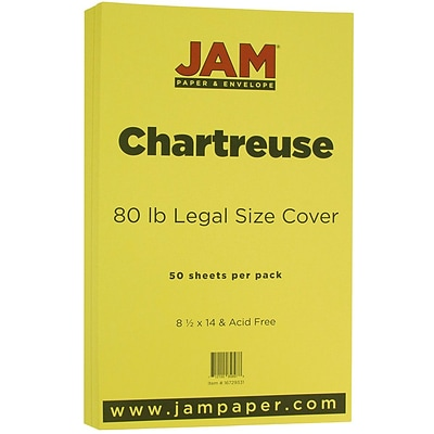 JAM Paper® Matte Legal Cardstock, 8.5 x 14, 80lb Chartreuse Green, 50/pack (16729331)