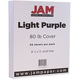 JAM Paper® Matte Cardstock, 8.5 x 11, 80lb Light Purple, 50/pack (16729274)