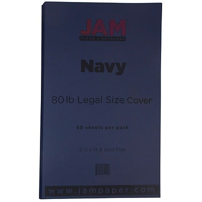 JAM Paper® Matte Legal Cardstock, 8.5 x 14, 80lb Navy Blue, 50/pack (64429515)