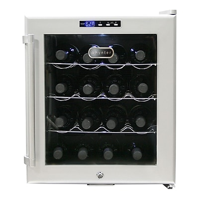 Whynter WC-16S Freestanding 16 Bottles Wine Cooler - Platinum with lock