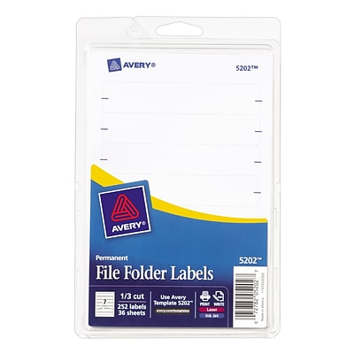Avery® Laser/Inkjet Permanent Print-or-Write File Folder Labels, White, 252/Pack (13923/5202)