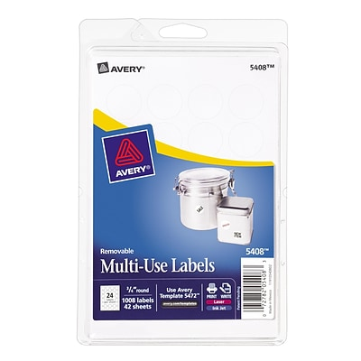 Avery 5408 removable id labels quill avery 5408 print or write multiuse id labels 34 diameter pronofoot35fo Images
