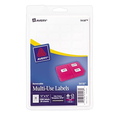 Avery 0.5 x 0.75 Inkjet/Laser Removable Print or Write Labels, White, 28/Pack (05418)