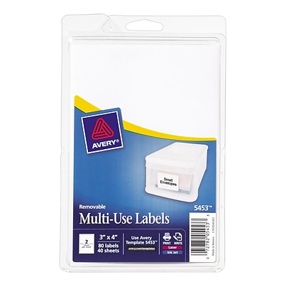 Avery® 5453 Print-or-Write Multiuse ID Labels, 3H x 4L, 80/Pack