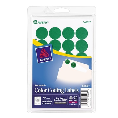 Avery® 5463 Round 3/4 Diameter Print & Write Color Coding Labels, Green, 1008/Pk