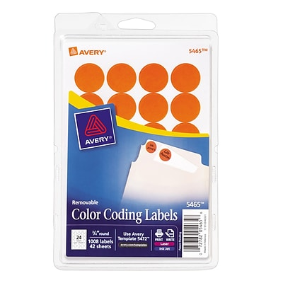 Avery® 5465 Round 3/4 Diameter Print & Write Color Coding Labels, Orange