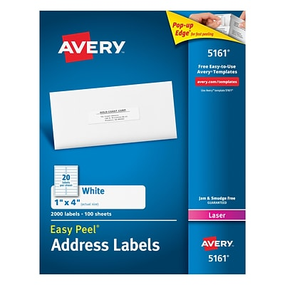 Avery 1 x 4 Laser Address Labels with Easy Peel, White, 2,000/Box (5161)