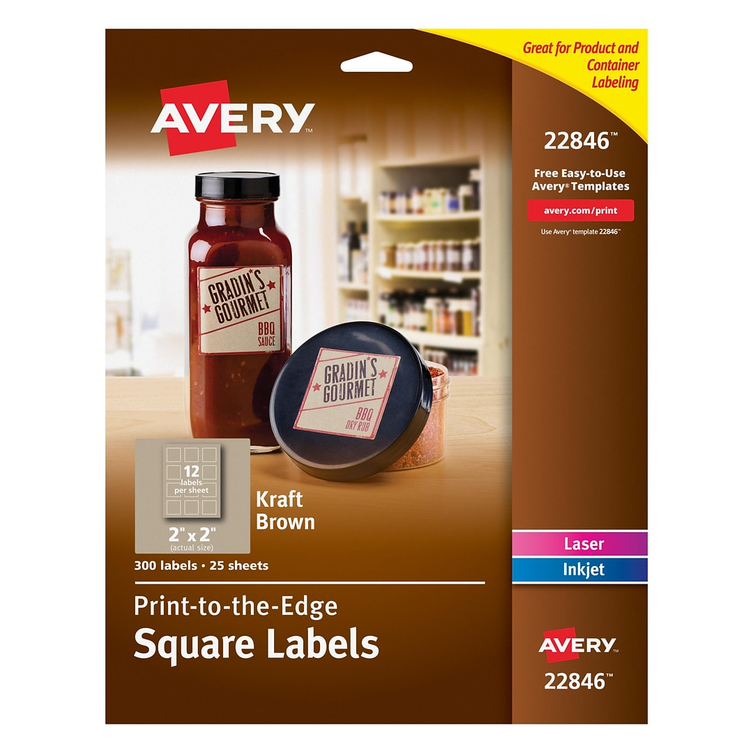 Avery Print To The Edge Kraft Brown Square Labels 2 X 2 Pack Of