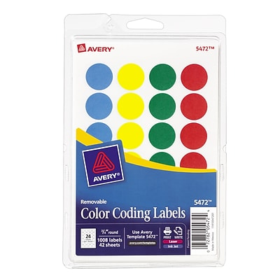Avery® Round 3/4 Diameter Print-and-Write Color-Coding Labels, Assorted Colors, 1,008/Pack (13958/5472)