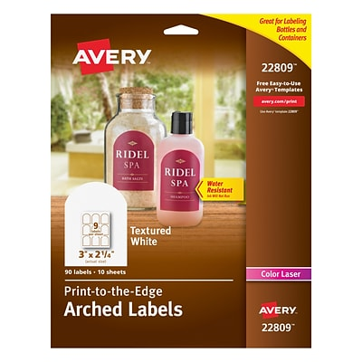 avery 22809 easy peel print to the edge textured white arched