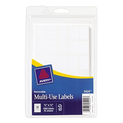 Avery® 05424 White Removable Multi-Use Labels, 5/8 x 7/8, 1050/Pack