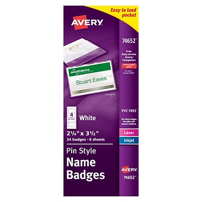 Avery® Pin Style White Name Tags with Flexible Holder 74652, 2-1/4 x 3-1/2