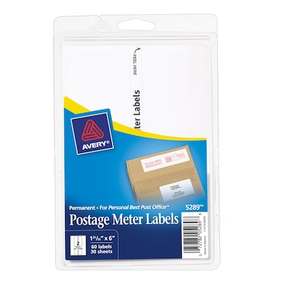 "Avery Pitney Bowes Personal Post Office Postage Meter Labels, 1-3/16"" X 6"", White, 60/Pack (13931/5289)"