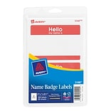 Avery HELLO Red Name Badge Labels