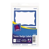 Avery® 13971/5144 Print-or-Write Name Badges, Blue Border, 2 11/32 x 3 3/8