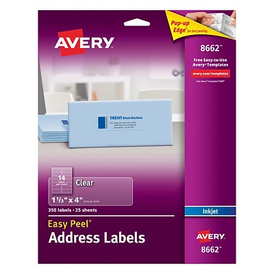 Avery 8662 Clear Inkjet Address Labels with Easy Peel®, 1-1/3 X 4, 350/Box