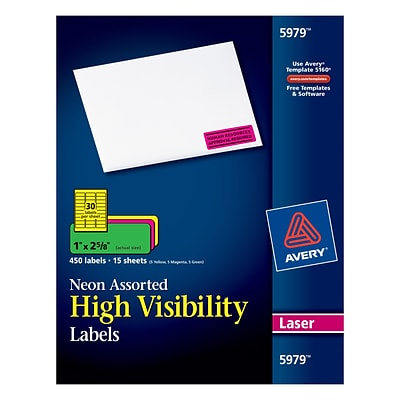Avery® 5979 Neon Laser Address Labels, 1 X 2-5/8, Assorted Colors, 450/Box (5979/08208)