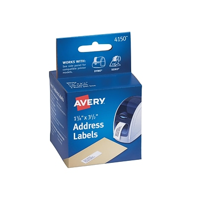 Avery Label Printer Address Labels, 1-1/8 x 3-1/2, White, 260/Box (13978/4150)