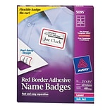 Avery Self-Adhesive Name Tag Labels, 2 1/3 x 3 3/8, White with Red Border, 400/Pack